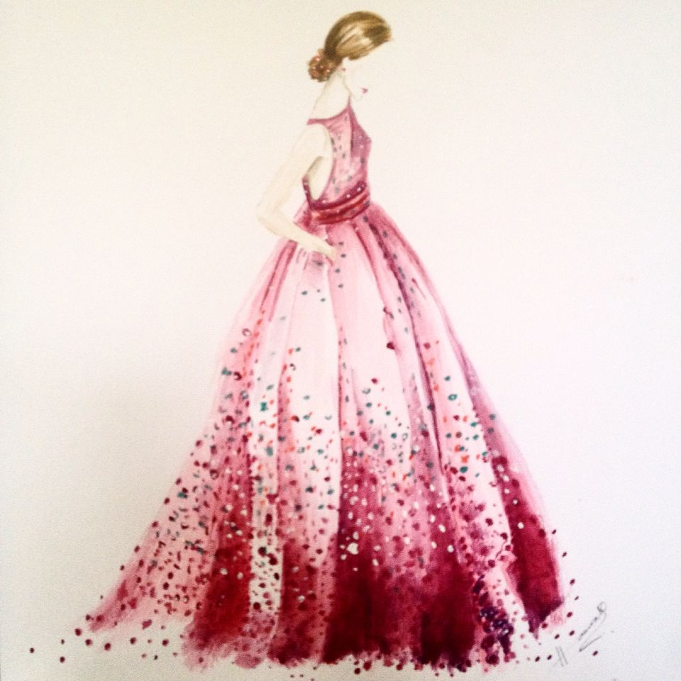 Pink dress #fashion illustration #watercolour #art | My ...