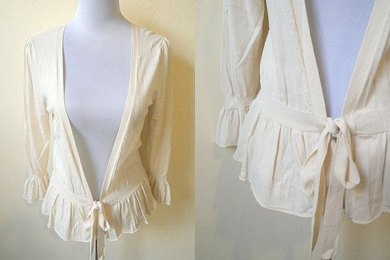 cream open cardigan (small to medium) by VintageHomage on Etsy