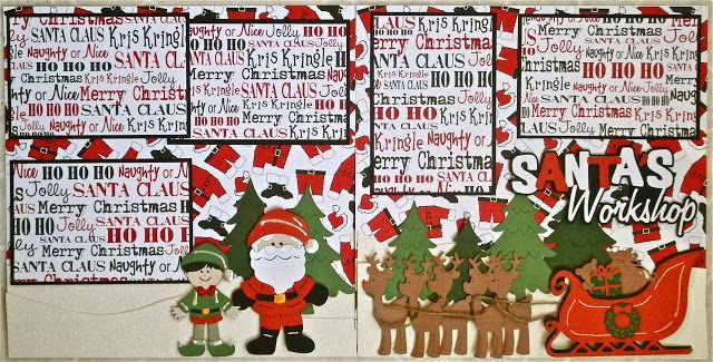 Cricut Crazy Scrapper: Santa's Workshop layout using winter frolic and paper doll dress up