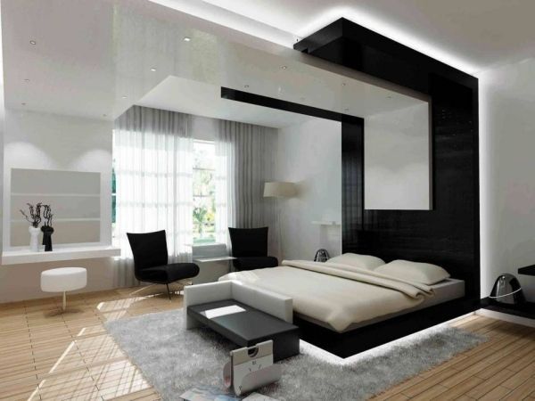 schlafzimmer abgehängte decke schwarz weiß indirekte beleuchtung ...