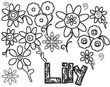 Personalized coloring page girl's name LILY line by