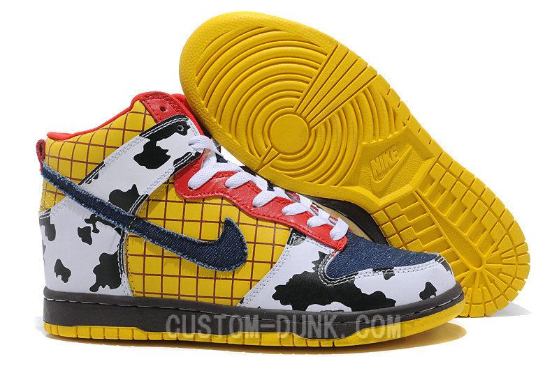 new concept 9a5f1 1d9e1 Cartoon Woody Dunks High Top Nike Sneaker Yellow