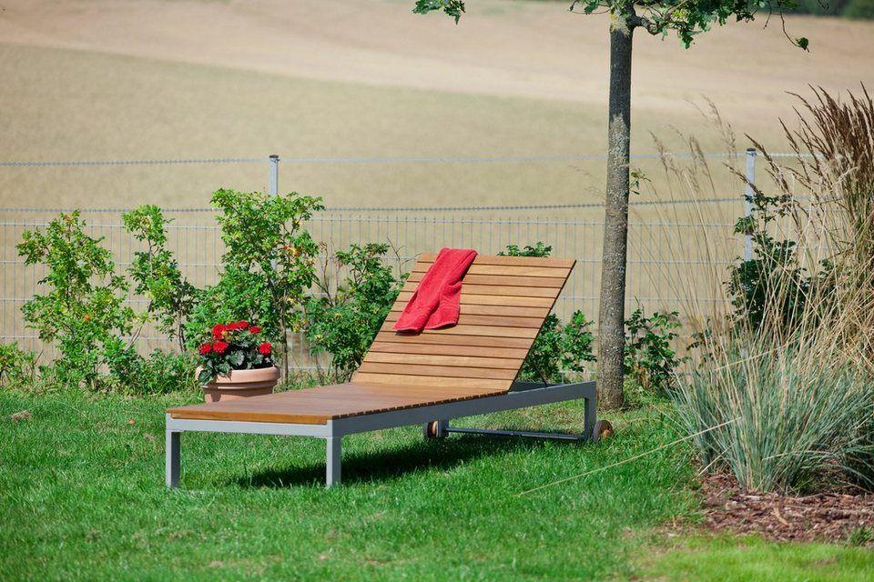 Merxx Gartenliege Naxos Eukalyptus Textil Verstellbar Grau Online Kaufen Otto Gartenliege Liege Garten Im Freien