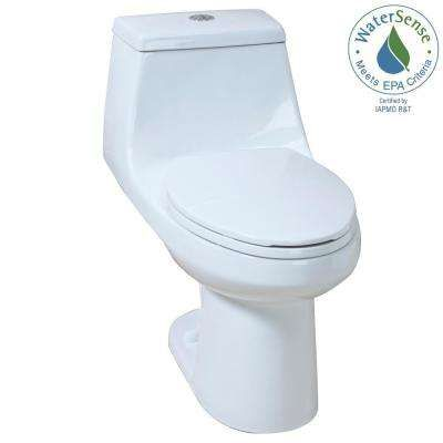 1 Piece 1 1 Gpf 1 6 Gpf High Efficiency Dual Flush Elongated All In One Toilet In White One Piece Toilets Dual Flush Toilet Glacier Bay