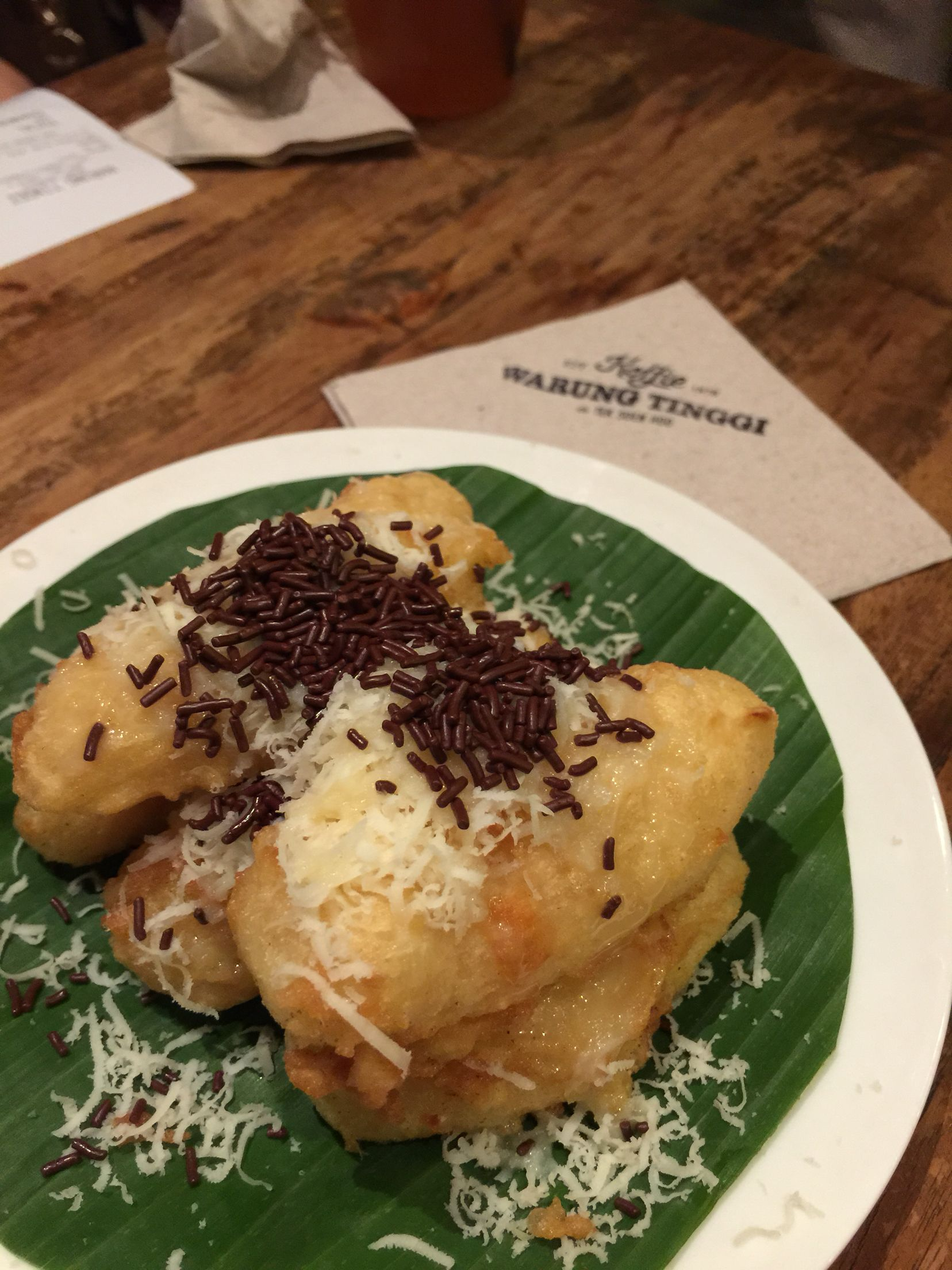 Fried Tape Cassava With Cheese Chocolate Vermicelli Warung Tinggi Jakarta Food Vermicelli Cheese