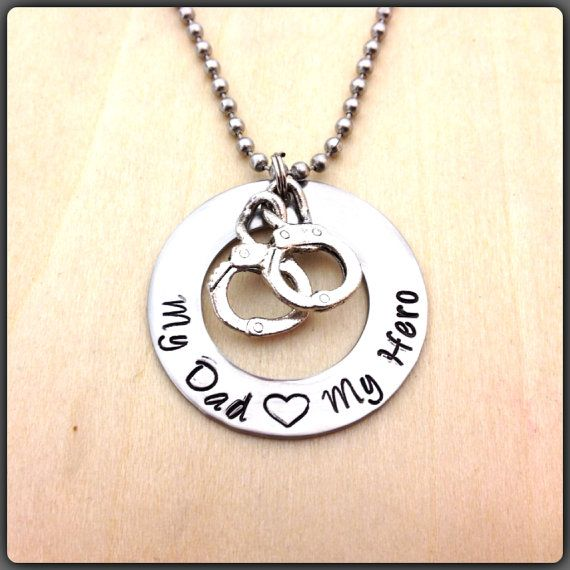My dad my hero police officer pendant family pinterest hand stamped washer necklace police office my dad my hero hand cuff jewelry aloadofball Gallery