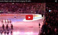 Toronto Maple Leafs fans finish singing US anthem after technical difficulties Beautiful! On Tuesday, the Canadian fans took over the US anthem when the singer was interrupted by technical glitches while singing 'The Star-Spangled Banner' during a game between the Leafs and the visiting Nashville Predators…
