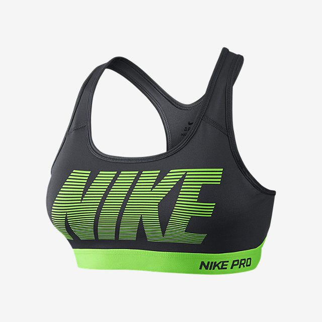 81d339b55b8fe Nike Pro Classic Padded Graphic Women s Sports Bra. Dark Grey Voltage  Green Voltage Green. Size S