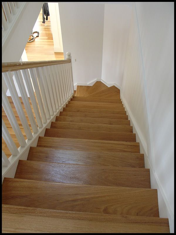 Painted stairs with blackbutt treads risers and handrails for Painted stair treads