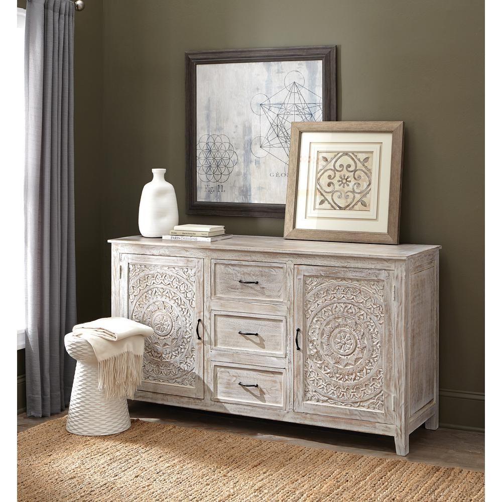 Home Decorators Collection Chennai 3-Drawer White Wash Dresser 9468000410 | Decor, Home decor, Vintage hand painted furniture