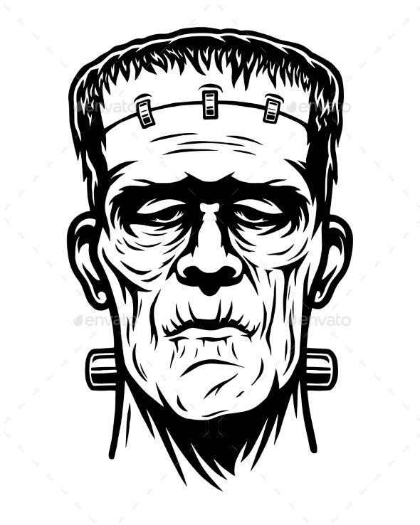 Monochrome Illustration Of Frankenstein Head Frankenstein Art Monochrome Illustration Frankenstein Tattoo