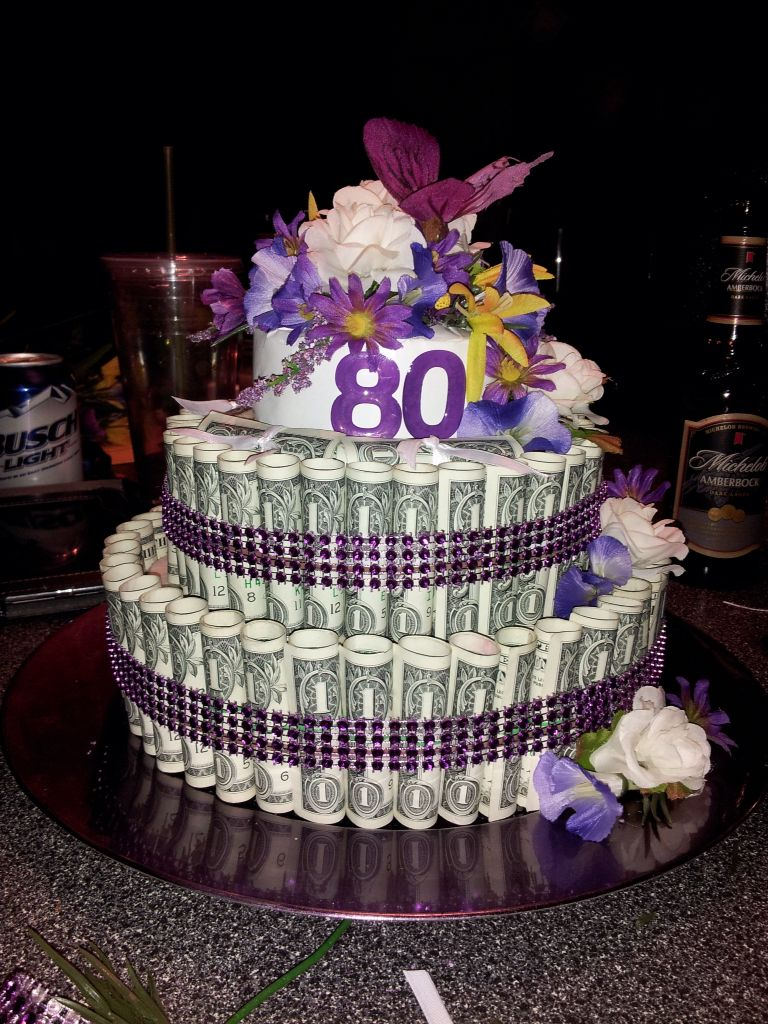 80 Dollar Bill Cake For My Moms 80th Birthday Floral Foam Covered With Wrapping Paper Tiny Rubber Bands Double Sided Tape Needed To Do Some Math Get