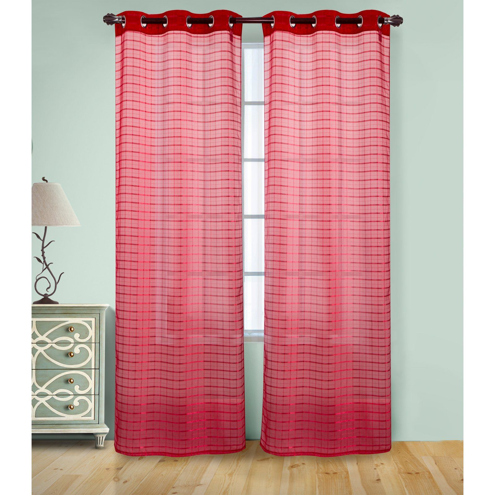 Rt Designers Collection Wanda Box Voile Grommet Curtain Panel Red