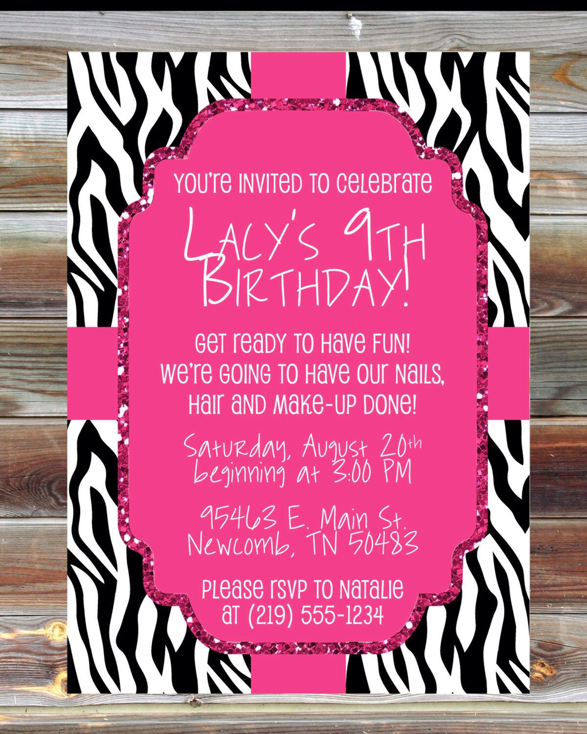 Pink Zebra Print Girls 1st Birthday Invitation: Printable Custom Pink And Zebra Birthday Invitation