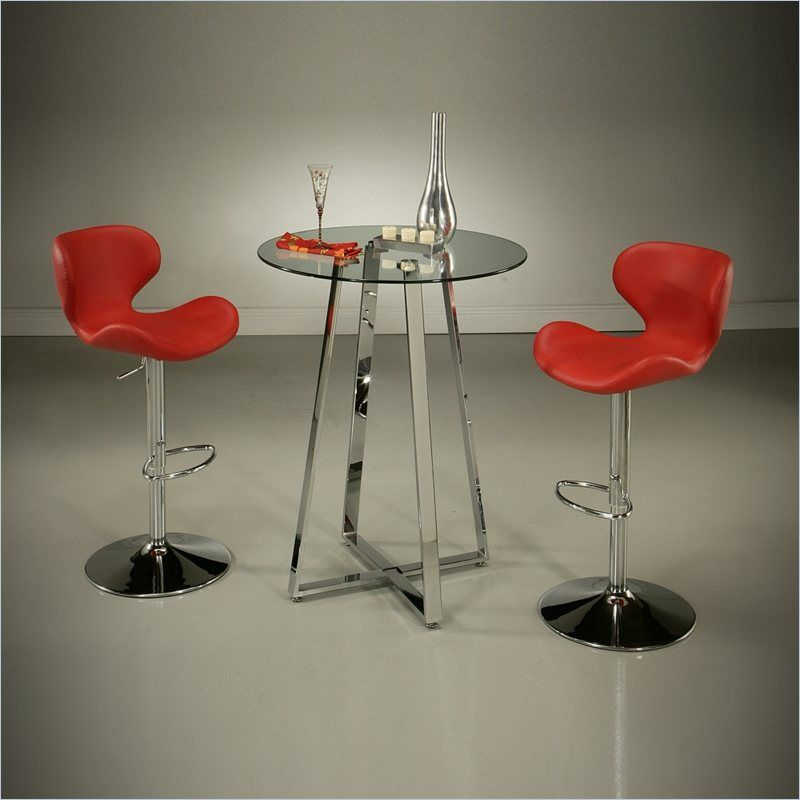 Fabulous Pastel Furniture Nostalgia 3 Piece Pub Set With Red Stools Cjindustries Chair Design For Home Cjindustriesco