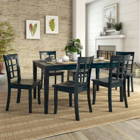 Lexington Large Dining Set With 6 Window Back Chairs Blue
