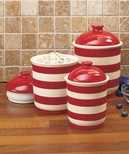 Superieur Christmas Red White Candy Cane Striped Kitchen Canisters Jar Set 3 Lid New