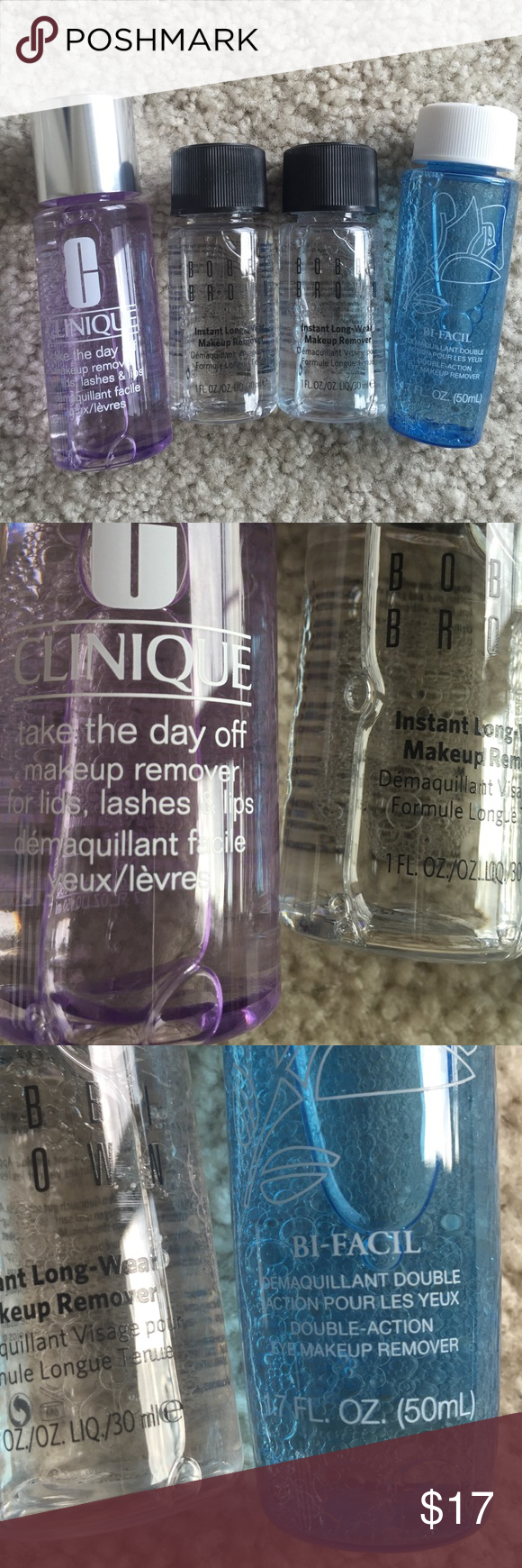 Lip and eye makeup remover bundle All new. Never used. Travel size bundle. Lancôme bi facil 1.7oz. Clinique take the day off 1.7 oz. $9.50. Bobbi brown instant long wear makeup remover 1oz each. $12 each. No trade.10% bundle discount. Bobbi Brown Makeup