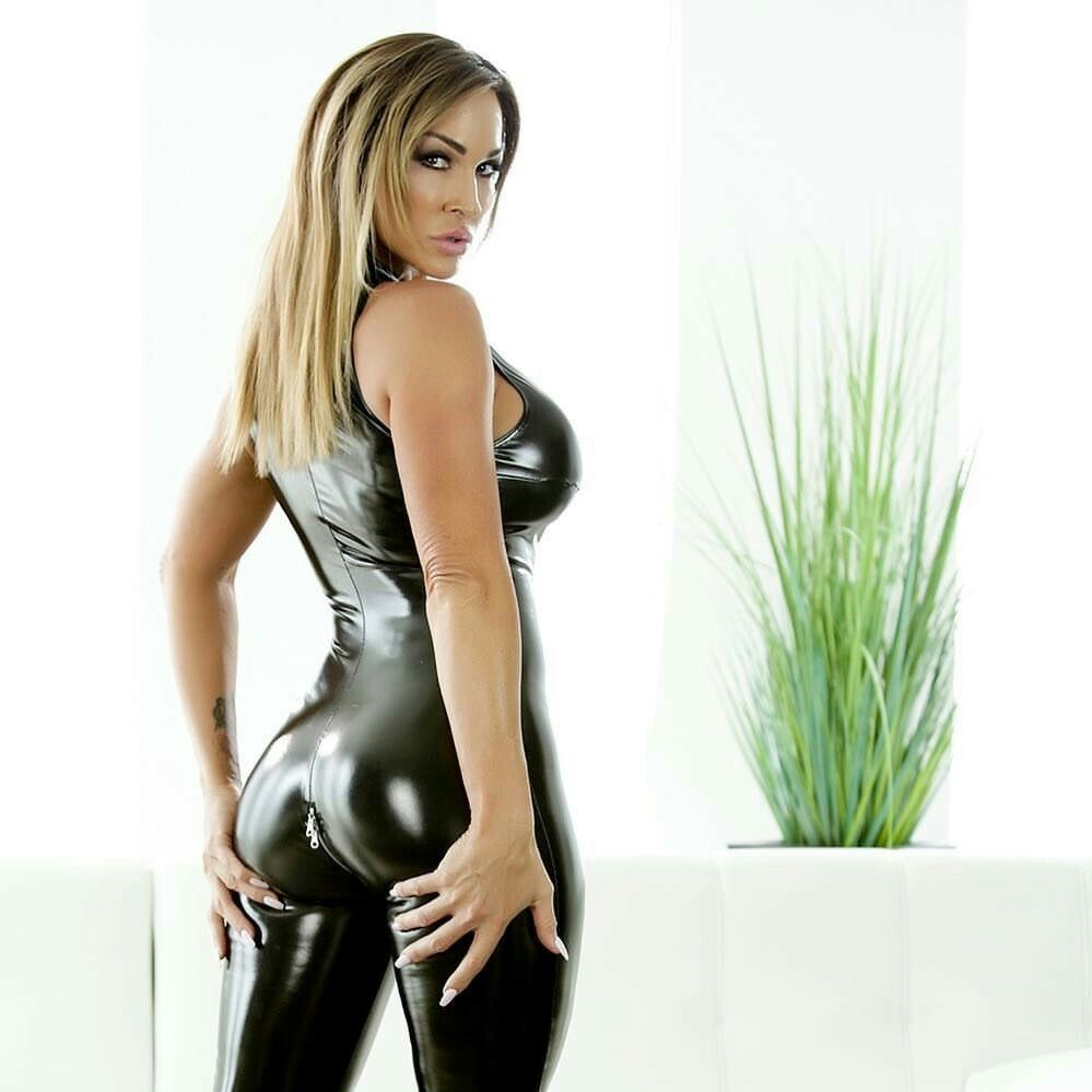 7572b6a9f2 Shiny black faux leather bodysuit