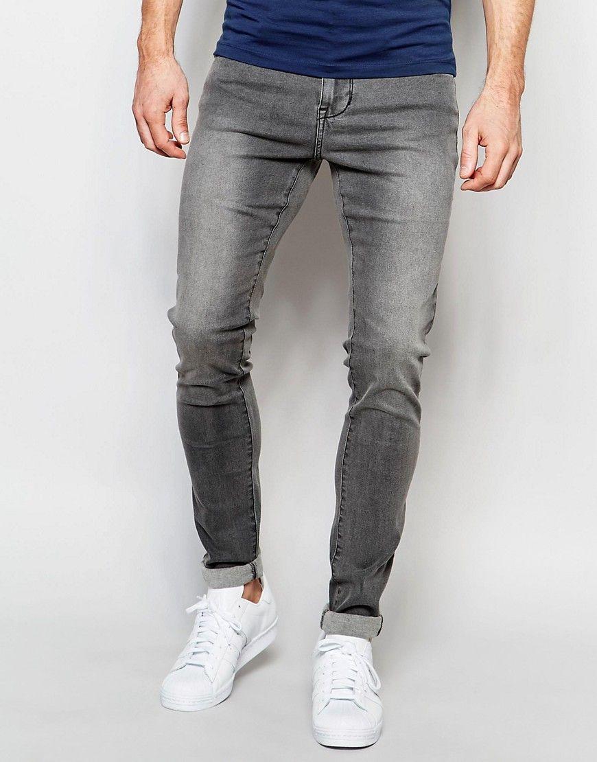 64c539a9c6 Dr Denim Jeans Leroy Dropped Crotch Super Skinny Gray Wash
