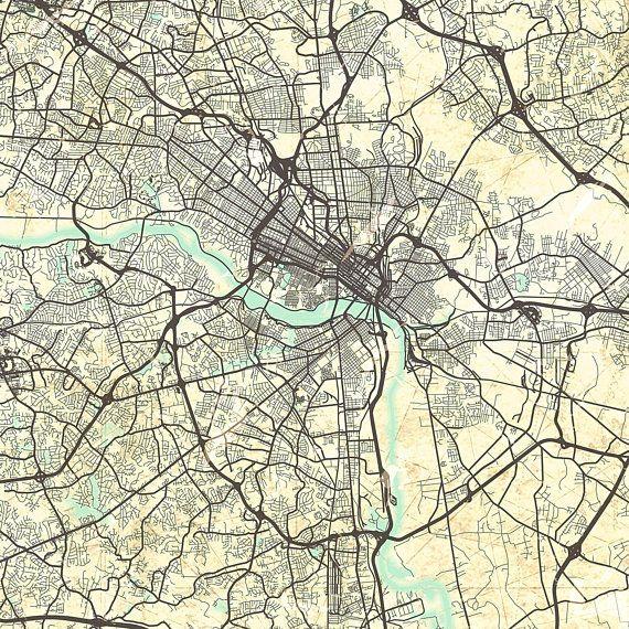 RICHMOND VA Canvas Print Virginia Va Vintage map Richmond Va City