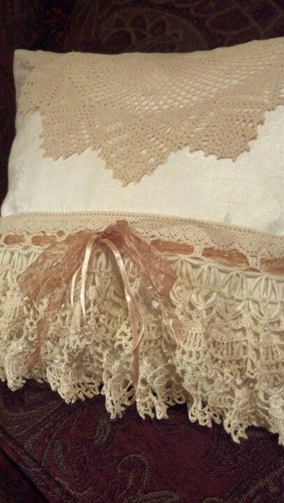 Gorgeous vintage linen and lace throw pillow
