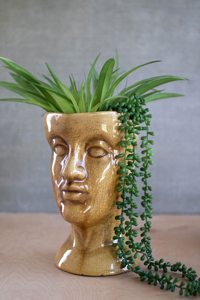 Ceramic Head Planter \\ Tan By Kalalou Ceramic Hea