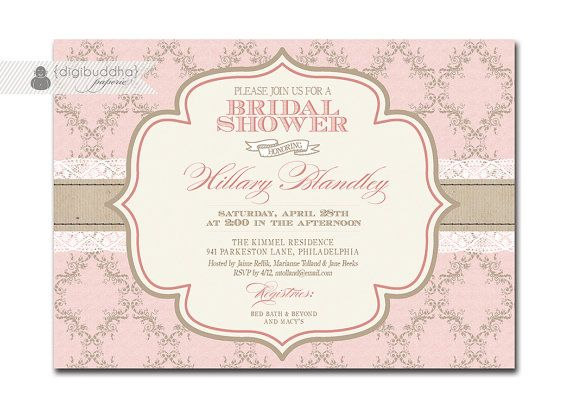Hillary elegant bridal shower invitation pink damask by elegant bridal shower invitation pink damask and lace shabby chic invitation typography classic printable digital or printed hillary style filmwisefo Choice Image