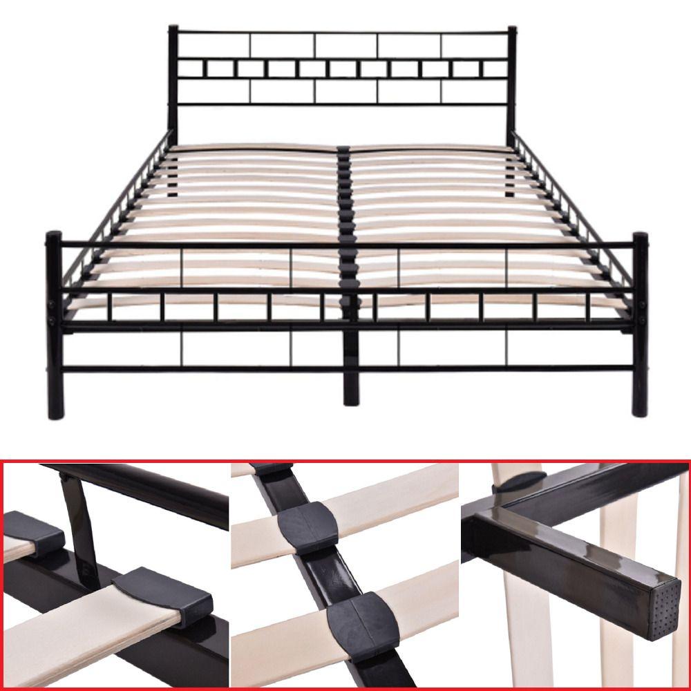 Details about metal queen size bed frame wwood slats inch bedroom