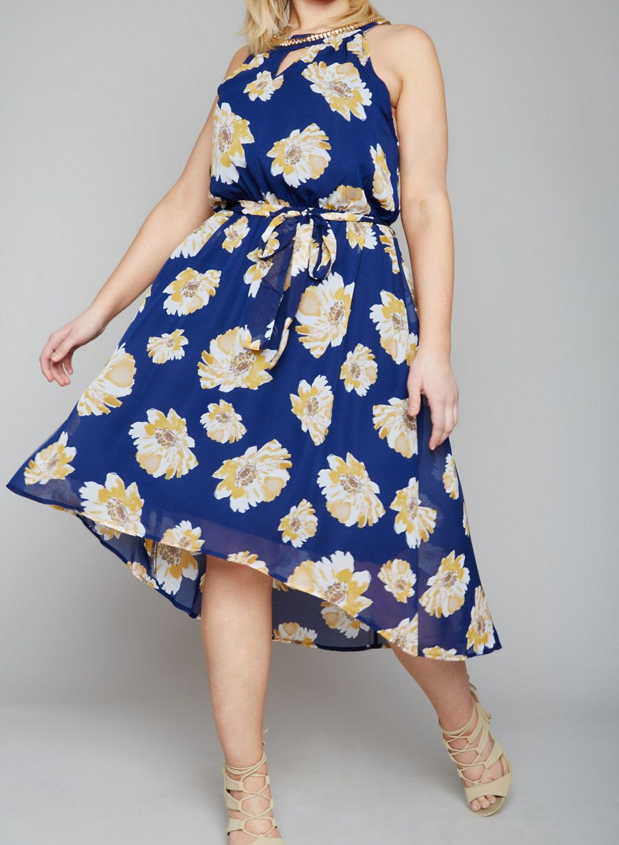 Mid length dresses for wedding guests  Plus Size Floral Midi Dress with Rhinestone Encrusted Collar
