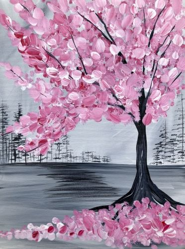 Hey Check Out Pink Cherry Blossom Tree At Heathen Brewing Feral Public House Paint Nite Cherry Blossom Painting Cherry Blossom Painting Acrylic Blossoms Art