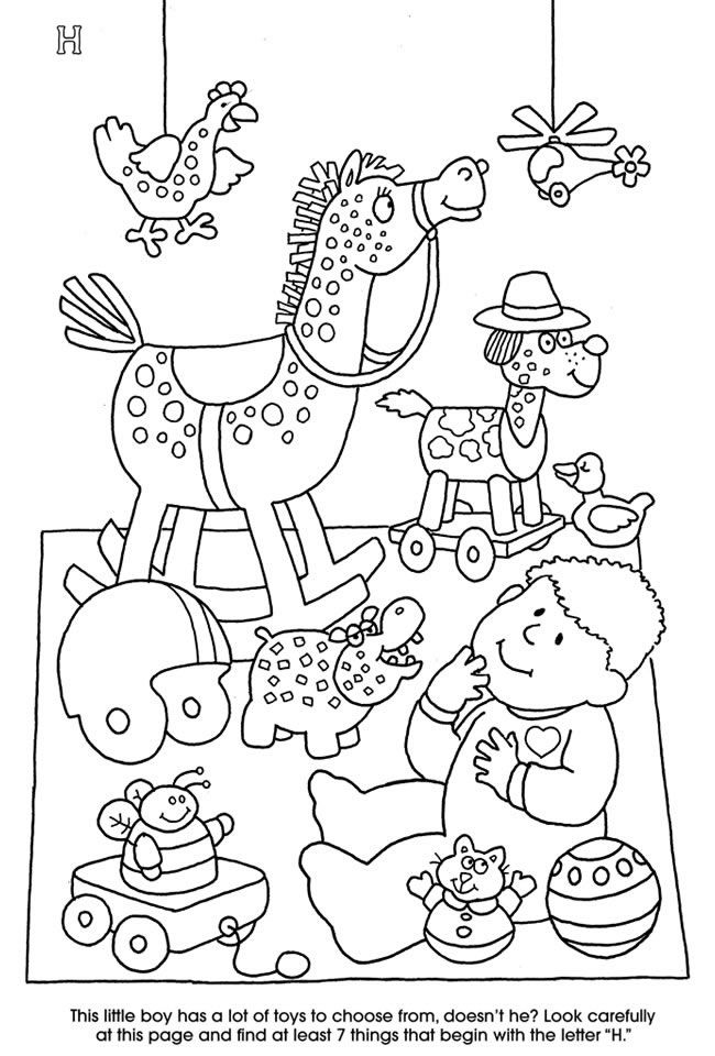 Dover publications free alphabet activity and coloring page letter h