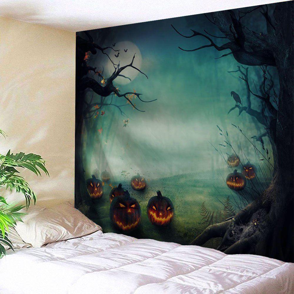 Wall Hanging Art Decor Halloween Pumpkins Print Tapestry In