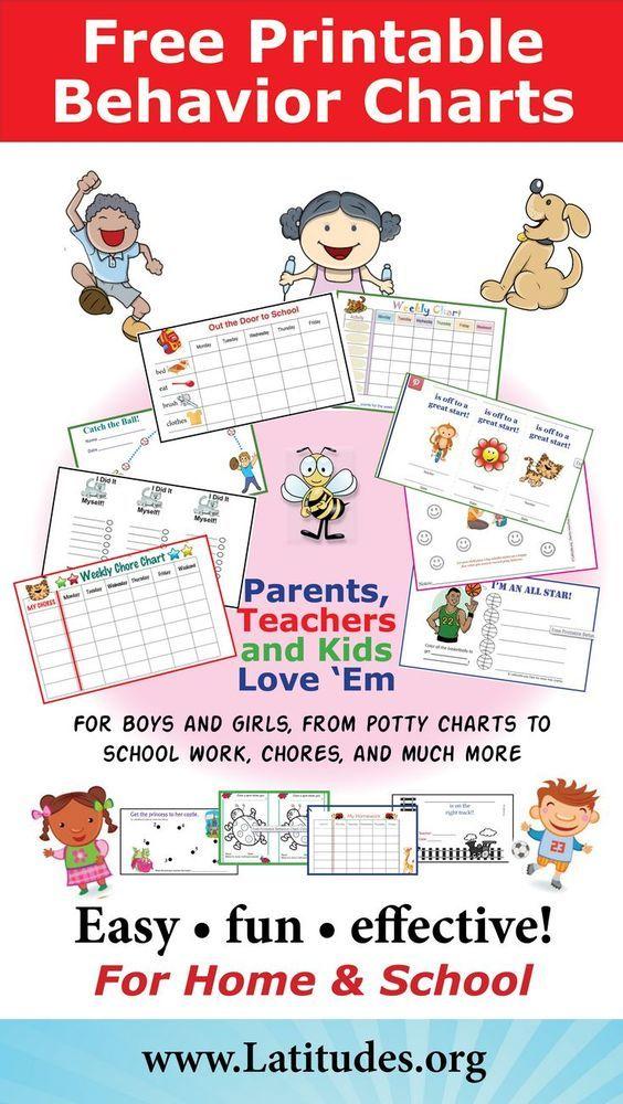 FREE Printable Behavior Charts for Home and School Pinterest - printable behavior charts for home