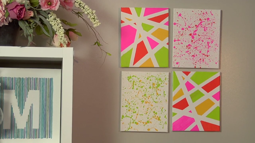Make a splatter paint wall decor do this on wall squares for Different ways to paint walls