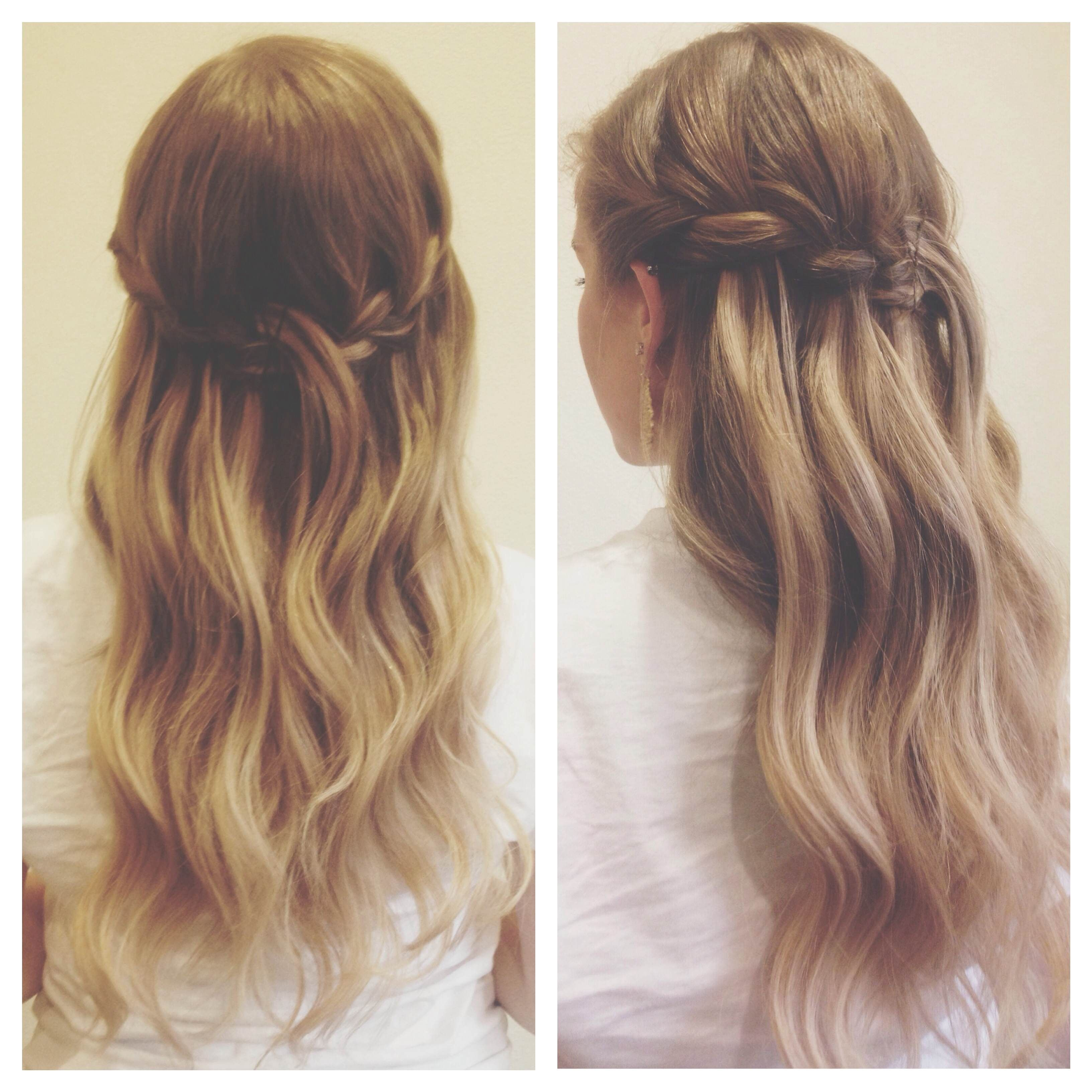 Beautiful waterfall braid and ombre waves braid hair hairstyle