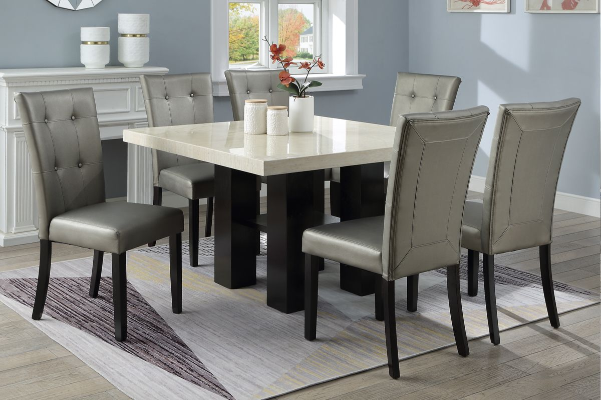Poundex F2463 1752 7 Pc Donnie Black Finish Wood Square Faux Marble Top Dining Table Set Silver Chairs Counter Height Dining Table Set Dining Table Counter Height Dining Table