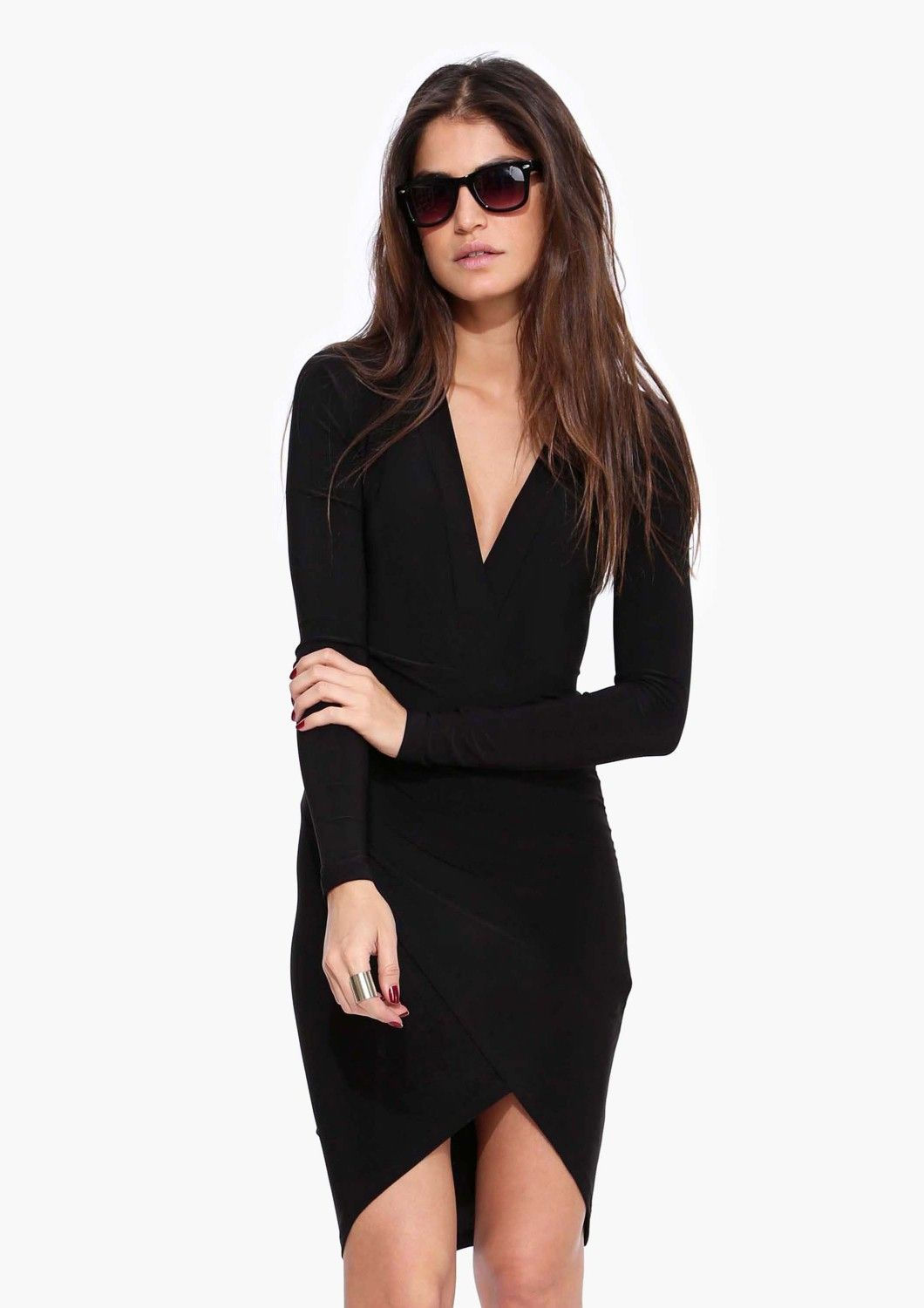 LBD: Long Sleeve Midi Bodycon Knit Dress in Black (also in RED)