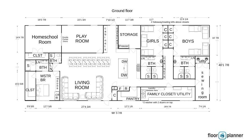 Large Family Floor Plan House Plan With Sewing Room And Lots Of Storage Dorm Style Rooms And Bathrooms Homeschool House Floor Plans Family Storage Floor Plans