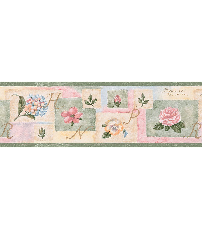 Cameo Script Floral Wallpaper Border, Multicolor