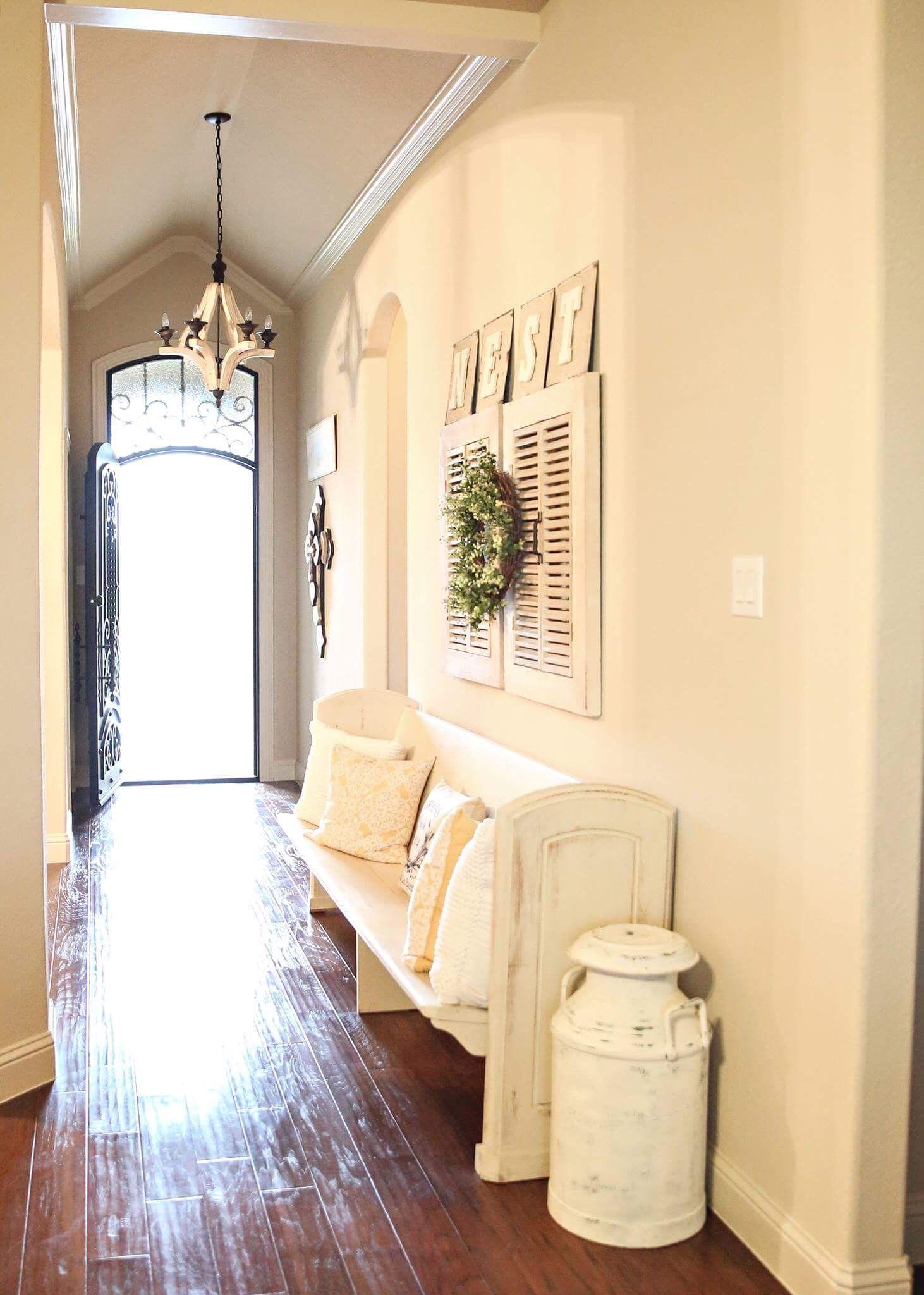 White entryways. Vintage church pews. Farmhouse shutters. Annie ...