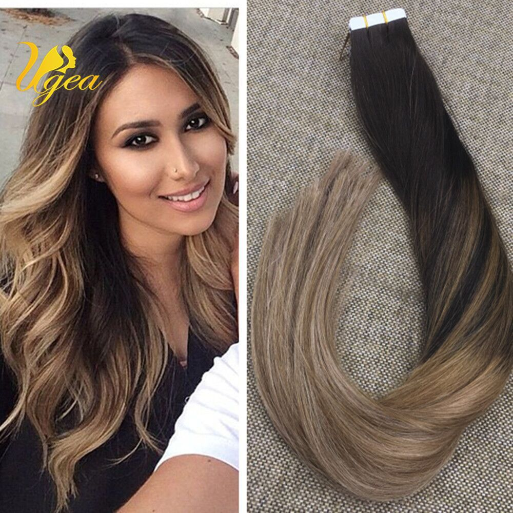 7a Balayage Ombre Light Brown Dark Ash Blonde Remy Tape In Human
