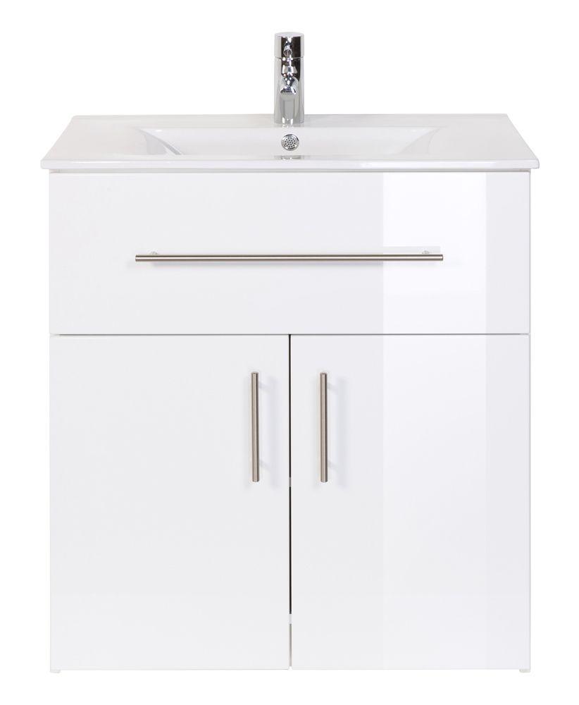 Badmobel Domino 750 Weiss Hochglanz Standbadmobel Grosse Badezimmer Waschbecken Unterschrank