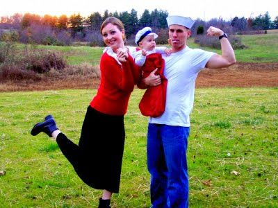 popeye and olive oyl and sweet pea make a fun and easy family halloween costume idea