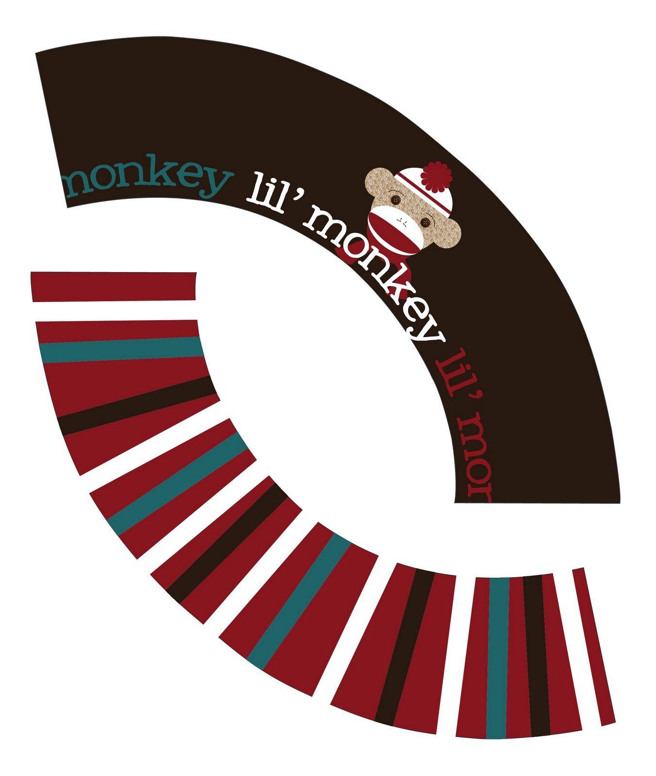 My Messy Manger: Free Sock Monkey Birthday Printables: Cupcake Wrappers