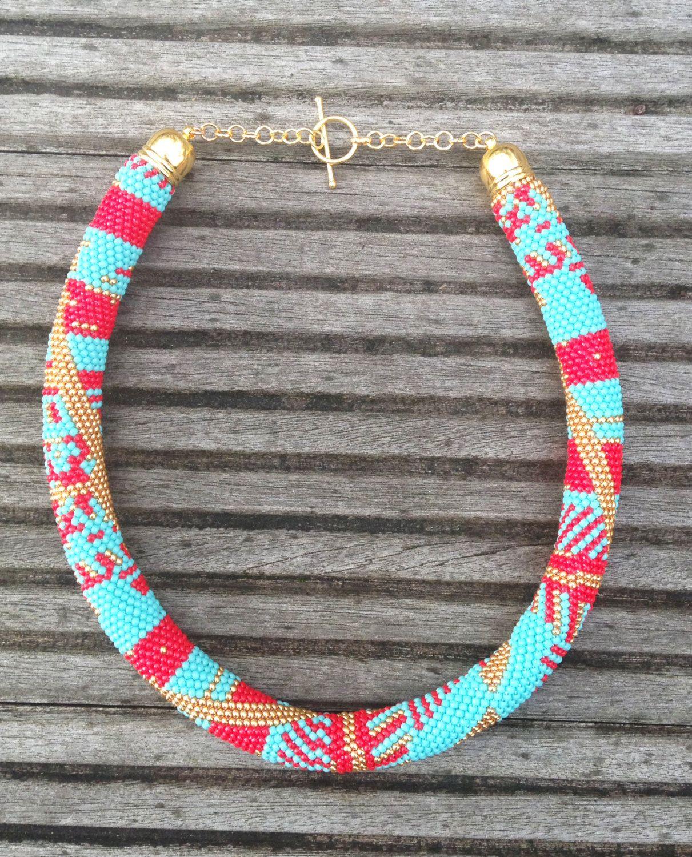 Chunky Bead Crochet Necklace with 24k gold vermeil findings by MANGOBLUESTUDIO on Etsy https://www.etsy.com/listing/199080754/chunky-bead-crochet-necklace-with-24k