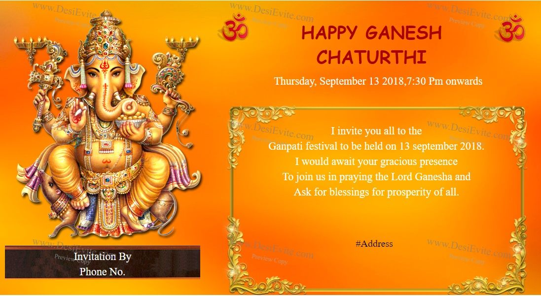 10 Format Of Ganesh Chaturthi Invitation Card Templates And Review