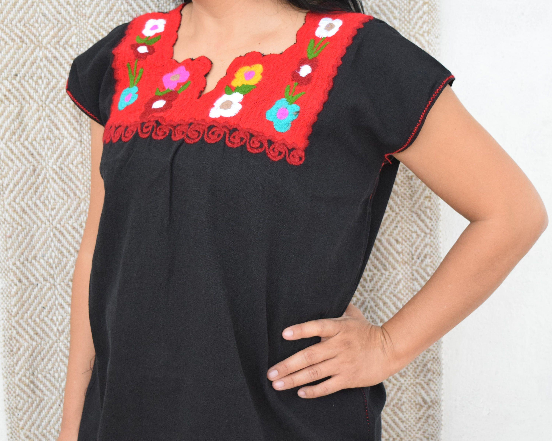 Fiesta Blouse,Blusa Telar de Cintura,Blusa Mexicana Bordada Hand Embroidered Mexican Blouse Chiapas Blouse