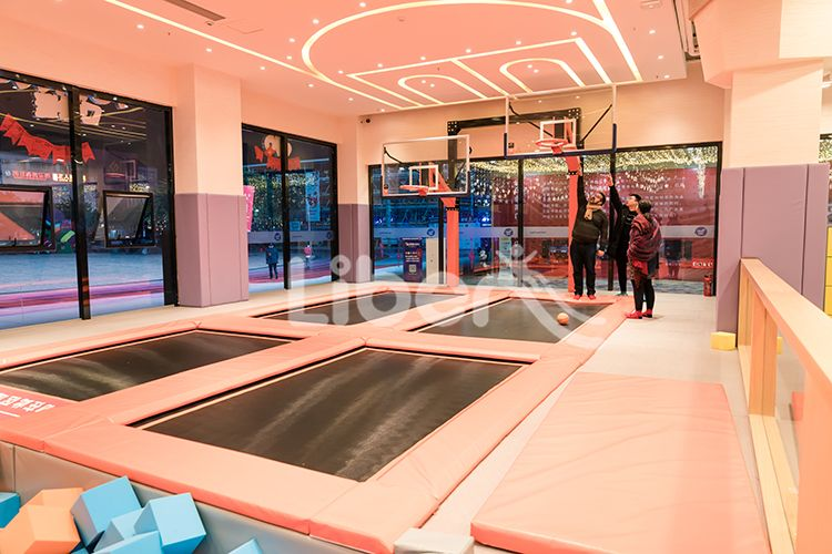 Pokiddo Indoor Trampoline Park Basketball Zone 2 Dream House Rooms Dream Home Design Gym Room At Home