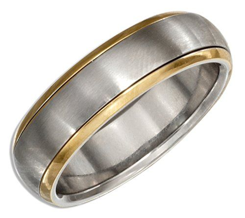 Stainless Steel and Gold Color Spinner Band Ring size 07 *** Read more  at the image link.